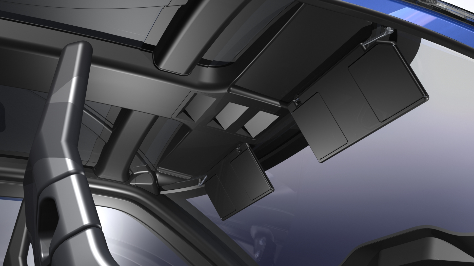 The visors tilt down and out just like any standard automotive visor. We  also plan to provide a vanity mirror and small light in the center of each  visor. 4bac8ee18b4